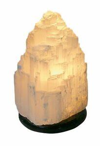 Gemstone Night Table Lamp Selenite Crystal Quartz White Natural Real Kaskade