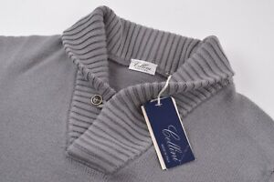 Cellini NWT Shawl Collar Sweater Made by Gran Sasso In Gray Size 48 US XXL Wool