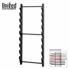 8 Tier Sword Wall Display Stand Rack Black Full Size Wood Hanger Katana Holder