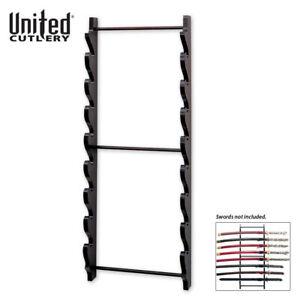 8 Tier Sword Wall Display Stand Rack Black Full Size Wood Hanger Katana Holder
