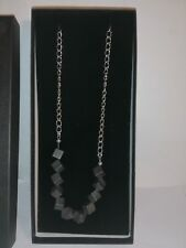 Handmade 17 Inch 43cm Hematite Cube and Silver Metal Chain Necklace