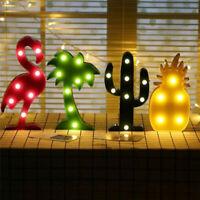 3D LED Night Light Flamingo Pineapple Cactus Coconut Desk Lamp Bedroom Decor