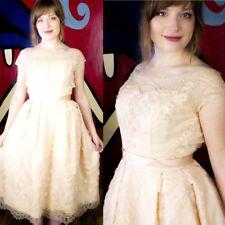 HARVEY BERIN Vtg 50s Pink Silk Chantilly Lace Prom/Party Dress XS/XXS Wedding