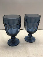 Libbey Duratuff 2 Cobalt Dusky Blue Gibralter Water Tea Goblets Glasses