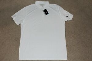 Mens Size XL X-Large Nike Dri Fit Golf Polo Shirt Solid White Short Sleeve