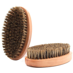 Wooden Oval Bristles Brush Mens Beard Brush Mustache Hair Styling Grooming Tool