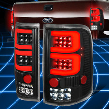 For 04-08 Ford F150/Lobo Dual Red 3D LED Bar Tail Light/Lamps Replacement Black
