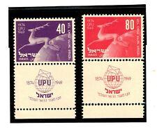Israel 1950 Sc#31-32 UPU Set w/Full Tabs OG & MNH! Cat. $55