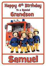 fireman sam personalised A5 birthday card son nephew brother grandson name age