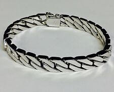 "10kt Solid WHITE Gold Handmade Curb Link Mens Bracelet 9"" 45 Grams 8 MM"