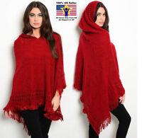 Women Boho Hoodie Red Cape Poncho Shawl Scarf Sweater Fringe Hooded Jacket Coat