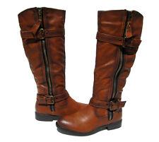 New Women's Riding Boots Tan Cognac Shoes Winter Snow Fur Lined Ladies size 6.5