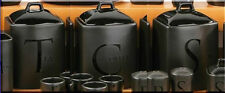 Tea Coffee Sugar Jar Set Kitchen Storage Canisters Black Ceramic Lids Handles