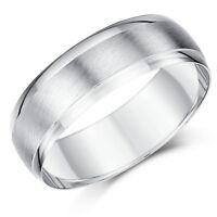 9ct Weiß Gold Ring Schwer D Form Design Ehering Matt & Poliert 7mm Ring