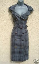 SIZE 16 40'S 50'S STYLE WIGGLE MILITARY PIN-UP CHECK TARTAN DRESS ~ US 12 EU 44