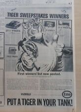 1965 newspaper ad for Esso - Esso Tiger posts Tiger In A Tank contest results