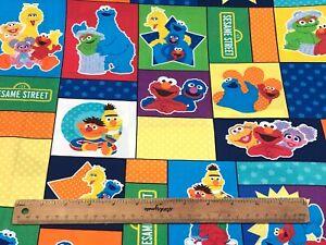 *Remnant 80cm x 100cm* - Sesame Street Character Blocks Multi Woven Cotton