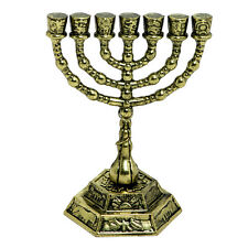 "Mini Menorah 2.4"" bronze Judaica Israel Jewish candle holder from Jerusalem gift"