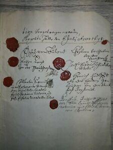 Altes Dokument 1687  !! , 6 Lacksiegel  Unterschriftt Adel , von Bülow  , ...