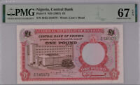 Nigeria 1 Pound 1967 P 8 Superb Gem UNC PMG 67 EPQ Top Pop Wrong Label