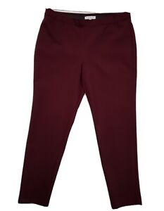 CHAUS New York Size L Comfort Waist Curvy Fit Pull On Burgundy Pant