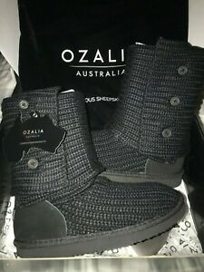 NEW!!! OZALIA AUSTRALIA SHEEPSKIN BOOTS US SIZE 5 BLACK SWEATER KNIT 3 BUTTON UP