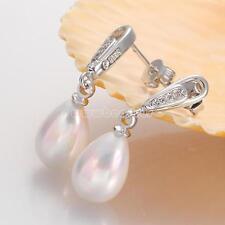 Lady's White South Sea Shell Teardrop Pearl Drop 925 Silver Dangle Earrings Gift