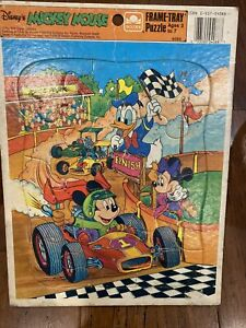 MICKEY MOUSE Formula One racecar 1980s vtg frame tray puzzle Minnie & Donald