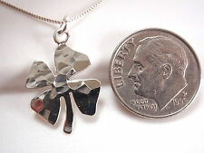 Four Leaf Clover Hammered Pendant 925 Sterling Silver Corona Sun Jewelry Lucky