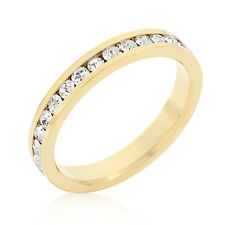 18K GOLD EP DIAMOND SIMULATED  ETERNITY RING sz 7 or O
