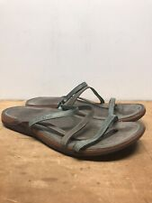 Womens 12 Chaco Gray Leather Strappy Flip Flops
