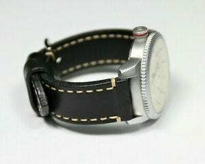Handmade leather watch band black 20 22 24mm Veg Tanned Leather watch strap men