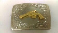 Vintage 70's Revolver Western Pistol Gun Belt Buckle