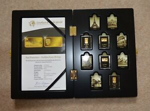 The Most Famous landmarks of the World Gold Coin Bar Collection 4 Coins + Box