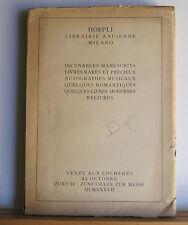 Hoepli Librairie Ancienne Milano 1937 Rare Books Catalog Incunables Manuscripts