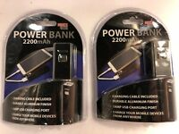Phone Power Bank 2200 mAh 1 Amp USB Charge Port Charge Cable Included Lot of 2