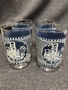 """Set Of 4 Currier And Ives Juice Glasses-Blue -   3 3/4"""" Tall"""