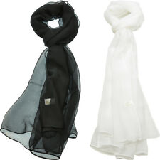Women's Solid Chiffon Scarf Silk Blend Light Fresh Wrap Oblong Shawl 2 PCS