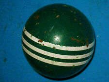 "1 Vintage Green Croquet Smooth 3 Stripe Ball 3"" Solid 5r4"