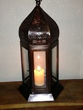 Moroccan Style Tabletop/Hanging Lantern Lg Brown 46cm Glass & Fretwork. FAULTY!!