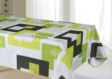"""Green Checked Water-Resistant Tablecloth 59x86"""" Rectangular EASY TO CLEAN"""