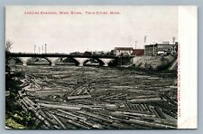 TWIN CITIES MN LOGGING CHANNEL MISS. RIVER ANTIQUE POSTCARD