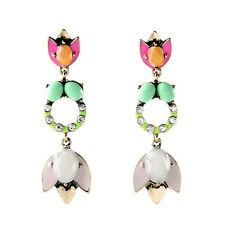 Boho Opal Imitation Blume Tulpe Blütenblätter Lange Ohrstecker Damen Ohrringe