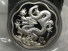 China 2000 Silver 10 Yuan Lunar Dragon Scallop Coin in Original Mint Packaging