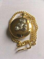 Teddy Bear Heart TG312A Fine English Pewter on a Gold Pocket Watch Quartz fob