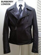 BURBERRY LONDON leather jacket black coat perfecto asymmetrical motorcycle biker