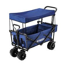 Enkeeo Folding Utility Wagon Cart Garden Beach Collapsible Shopping Cover Wheel
