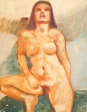 ANTIQUE IMPRESSIONIST NUDE WOMAN PORTRAIT OIL PAINTING