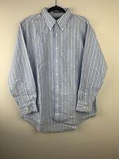David Taylor Dress Shirt 16 1/2 (32/33) Blue Stripe Button Front Collar