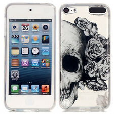 iPod Touch 5th / 6th Gen - Black Clear Skull Roses Hard Gummy Rubber Case Cover